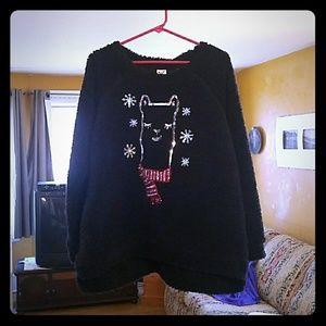 Black sweater XXL with sparkly sequin llama face
